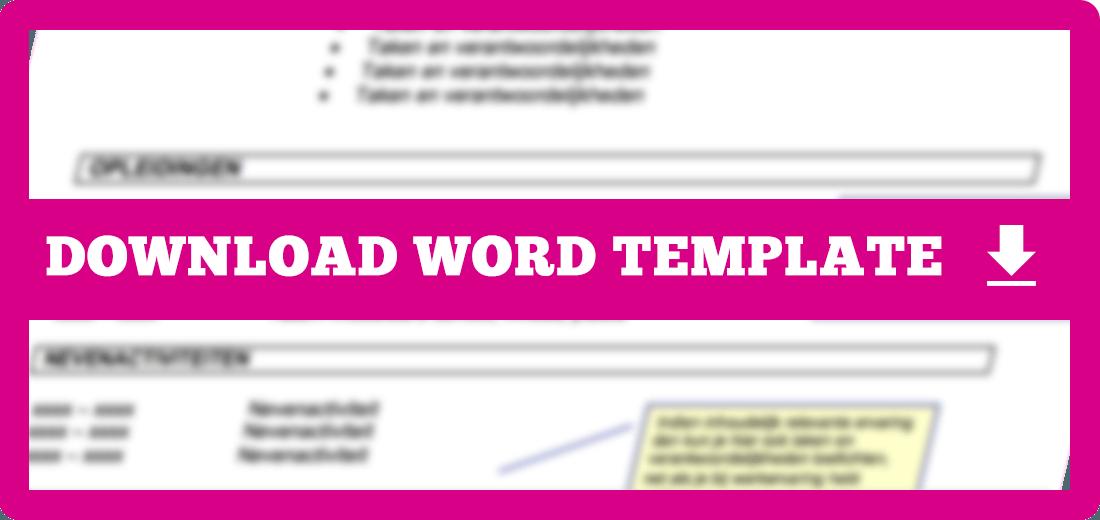 CV template downloaden voor word